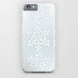Crocheted Snowflake Ornaments on teal mist iPhone Case