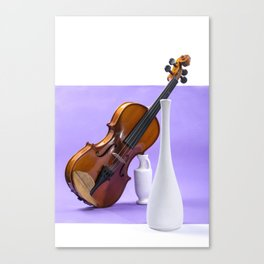 Still life with violin and white vases on a purple Canvas Print