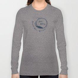 Gone fishing- illustration on marine blue Long Sleeve T-shirt