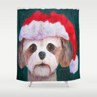 shih tzu Shower Curtains featuring Christmas Shih Tzu By Annie Zeno by Annie Zeno