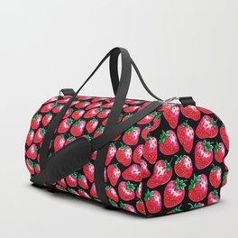 Red Strawberry pattern on black Illustration Duffle Bag