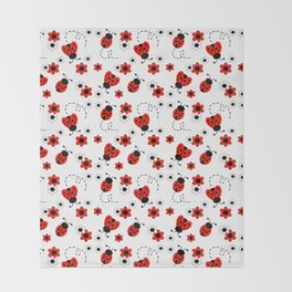 Red Ladybug Floral Pattern Throw Blanket