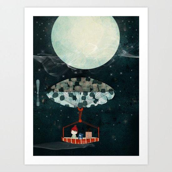 i see the moon too Art Print