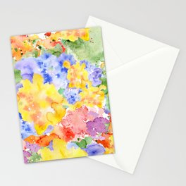 Modern whimsical pink purple yellow hand painted watercolor Stationery Cards