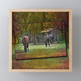 Horses Grazing Framed Mini Art Print