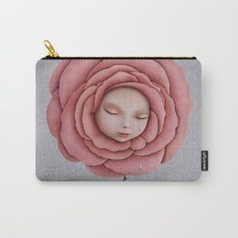 girl with her head in the blooming rose Carry-All Pouch