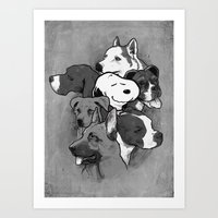dogs Art Prints featuring Dogs by Ronan Lynam