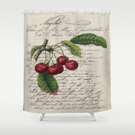 shabby elegance french country botanical illustration vintage red cherry Shower Curtain