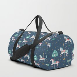 Carousel Horses in Blue Duffle Bag