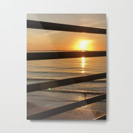 Sunset green dot Metal Print