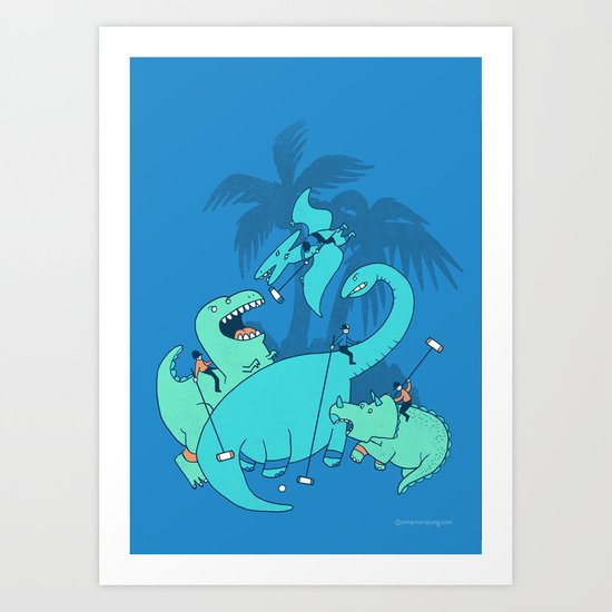 Polo with Dinosaurs Art Print
