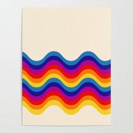 Wavy retro rainbow Poster