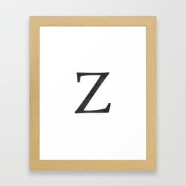 Letter Z Initial Monogram Black and White Framed Art Print