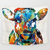 nba Wall Tapestries featuring Colorful Cow Art - Mootown - By Sharon Cummings by Sharon Cummings