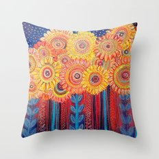 Stylised Sunflowers Throw Pillow