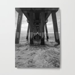 Under The Pier Black & White Metal Print
