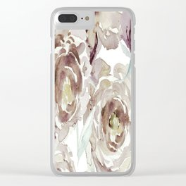 Earthy Painterly Floral Abstract Clear iPhone Case