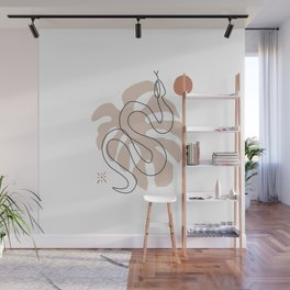 Line art snake and leaf summer print Wall Mural