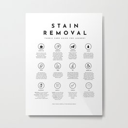 Laundry Sign Symbols Stain Removal Instruction Metal Print