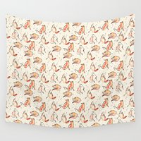 foxes Wall Tapestries featuring Foxes by Jen Moules