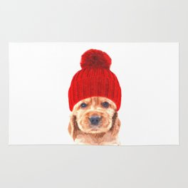 Cocker spaniel puppy with hat Rug