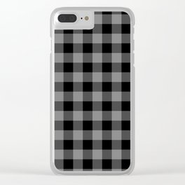 Gray and Black Lumberjack Buffalo Plaid Fabric Clear iPhone Case