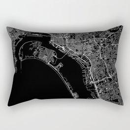 San Diego Black Map Rectangular Pillow