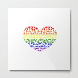 Made of Rainbow flag LGBT symbol on heart vector with colorful hand prints background Metal Print