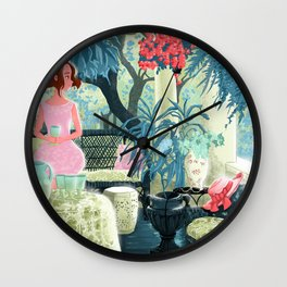 Flowered terrace Wall Clock