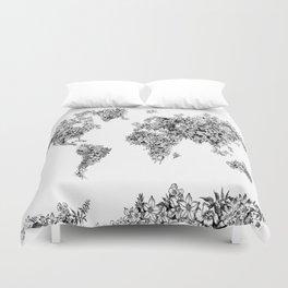 floral world map black and white Duvet Cover