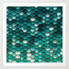 Turquoise sparkling mermaid glitter scales- Mermaidscales Art Print