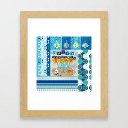 happy hannukah collage Framed Art Print