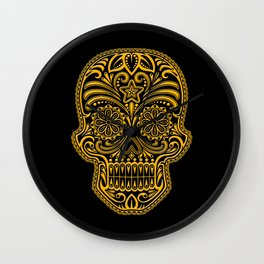 Intricate Yellow and Black Day of the Dead Sugar Skull Wall Clock