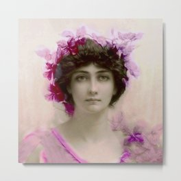 Beautiful,young lady,Belle epoque,victorian era, vintage, angelic girl, beautiful,floral,gentle,peac Metal Print