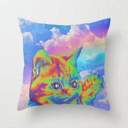 Rainbow Kitten Throw Pillow
