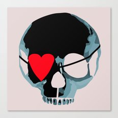 Blue punk skull with heart Canvas Print