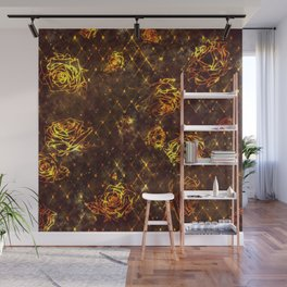 Diamond Rose Pattern - Maroon and Gold Wall Mural