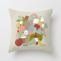 food Throw Pillows featuring FOOD by Nora