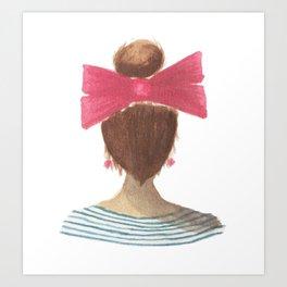 lady in a bow, brunette Art Print