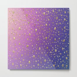 many small golden squares on a delicate rainbow background Metal Print