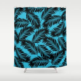 Palm Frond Tropical Décor Leaf Pattern Black on Cyan Vivid Arctic Blue Shower Curtain