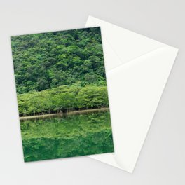 Calming greenery reflecting in perfectly still and tranquil river, Iriomote-jima, Japan Stationery Cards