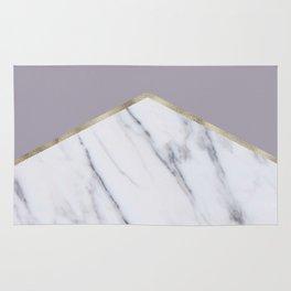 Smokey lilac - gold geometric marble Rug
