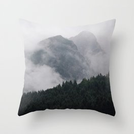 Minimalist Modern Photography Landscape Pine Forest Jagged High Grey Mountains Throw Pillow