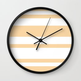 Mixed Horizontal Stripes - White and Sunset Orange Wall Clock