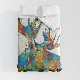 Colorful Moose Art - Confetti - By Sharon Cummings Comforters