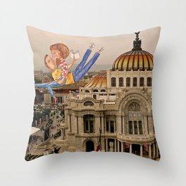 Lovers over Palacio de Bellas Artes Throw Pillow