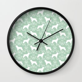 Cocker Spaniel mint and white minimal floral florals silhouette dog pattern Wall Clock