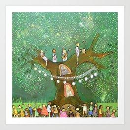 Green Tree Party Art Print