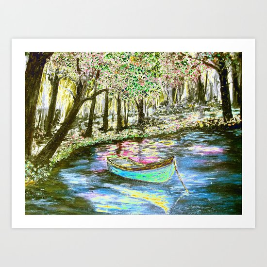 Neon -Rowboat through Rose Colored Glasses Art Print